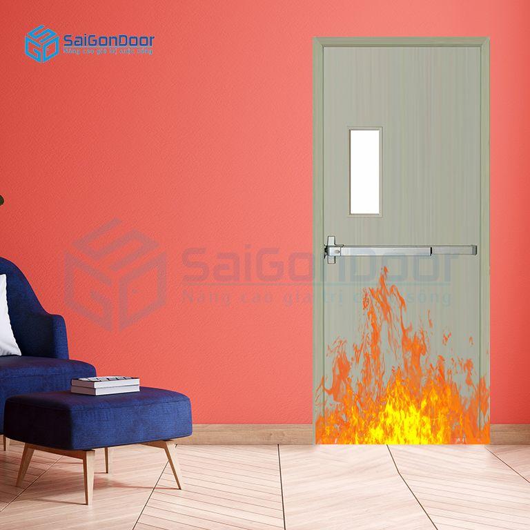 Cửa thép phòng khách an toàn P1G1 xam thanh thoat hiem
